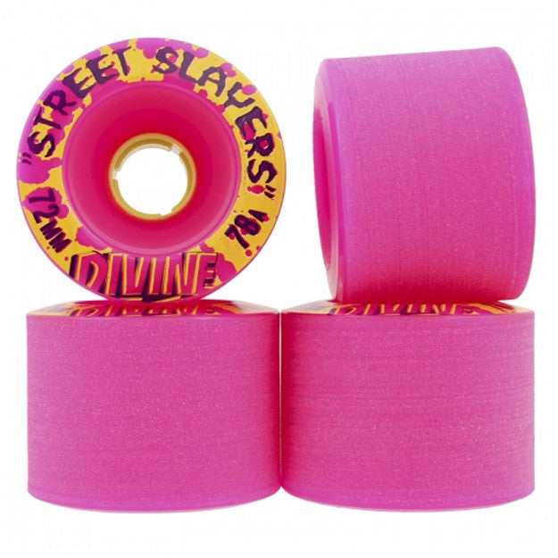 Divine Street Slayers - Pink - 72mm 78a - Skateboard Wheels (Set of 4)
