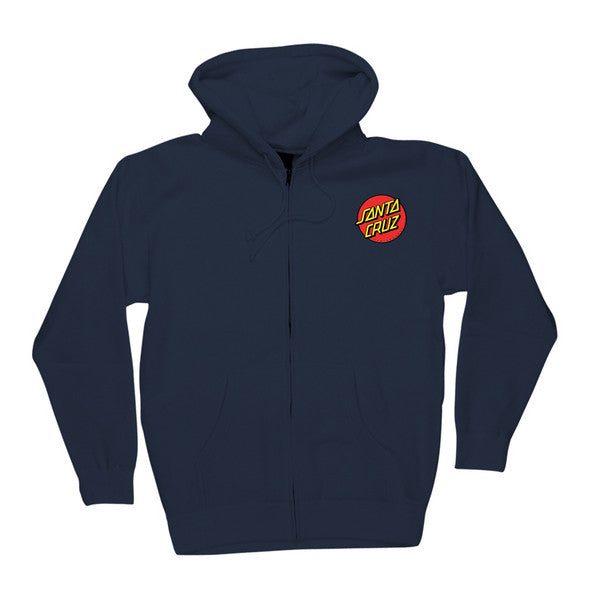 Santa Cruz Classic Dot Hooded Zip Long Sleeve Men's Sweatshirt - Navy