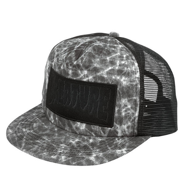 Creature Patch Distressed Men's Trucker Hat - Black