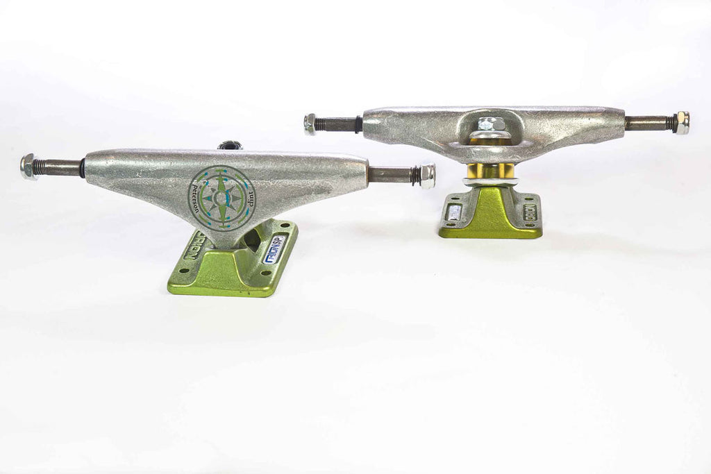 Orion Superior Clint Peterson Pro Skateboard Trucks -130mm - Silver/Green (Set of 2)