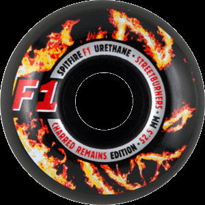 Spitfire F1 Street Burner Charred Skateboard Wheels 52.5mm - Black (Set of 4)