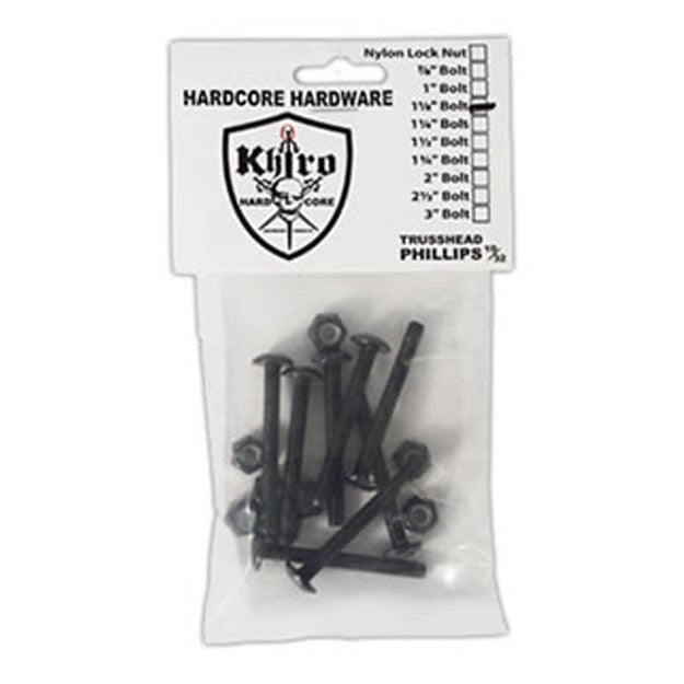 Khiro Hardcore Phillips Bolts Trusshead - 1 1/8in - Skateboard Mounting Hardware