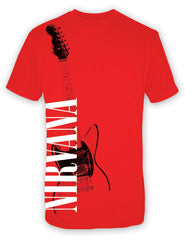 Nirvana Band Red Guitar T-Shirt - Red