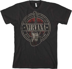 Nirvana Band Est 1988 Guitar Stamp Big  T-Shirt - Black