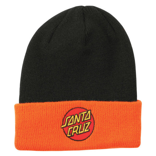Santa Cruz Classic Dot Long Shoreman Men's Beanie - One Size Fits All - Black/Orange