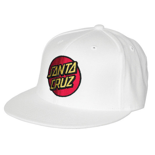 Santa Cruz Classic Dot Flexfit Hat - Small/Medium - White