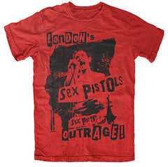 Sex Pistols Band London's Outrage! T-Shirt - Red