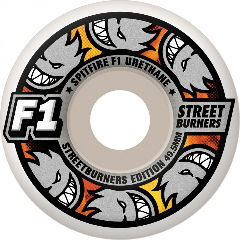 Spitfire F1 Streetburners Multiball Skateboard Wheels 52mm - White (Set of 4)