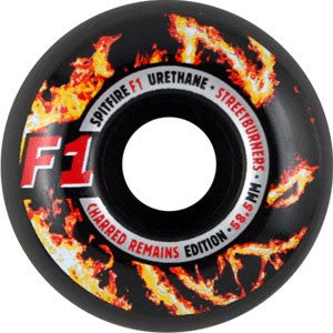 Spitfire F1 Street Burner Charred Skateboard Wheels 58.5mm - Black (Set of 4)