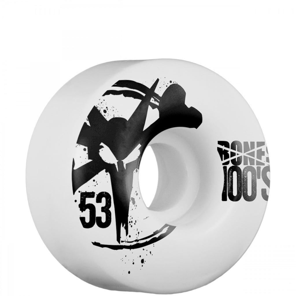 Bones O.G. 100's Skateboard Wheels 53mm - White (Set of 4)