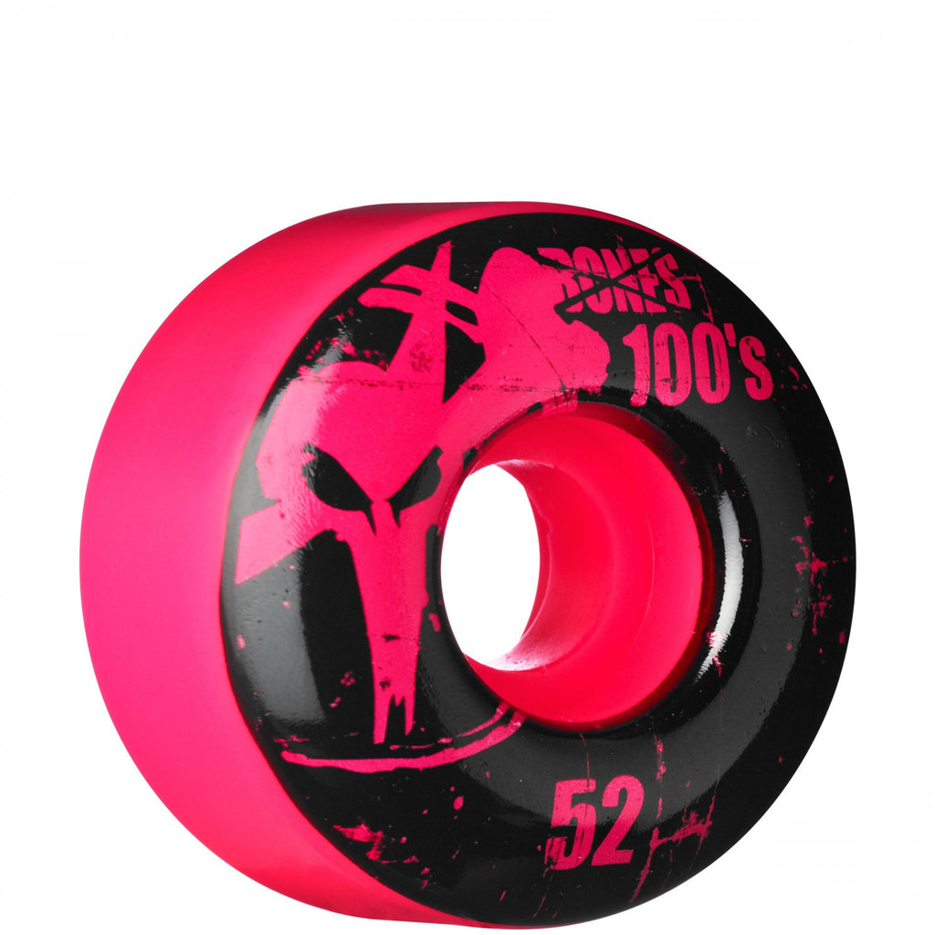 Bones O.G. 100's Skateboard Wheels 52mm - Pink (Set of 4)
