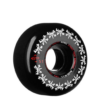 Bones STF Rat Pack Skateboard Wheels 51mm 83b - Black (Set of 4)
