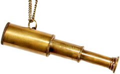 Love Nail Tree Telescope Necklace - Brass
