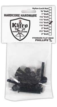 Khiro Hardcore Phillips Bolts Flathead Skateboard Mounting Hardware - 1 1/2""