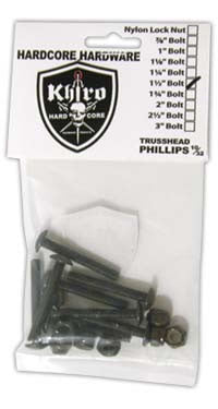 Khiro Hardcore Phillips Bolts Trusshead/Old School Skateboard Mounting Hardware - 1 1/4""