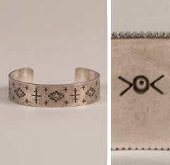 Norbert Peshlakai Sterling Silver cuff and mark
