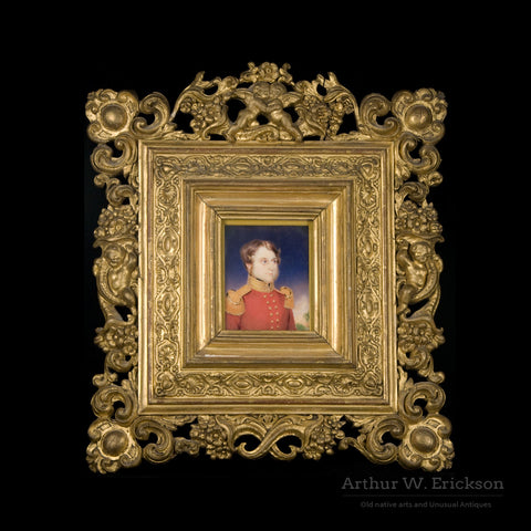 Miniature Early 19th C. British Officer's Portrait - Arthur W. Erickson - 1