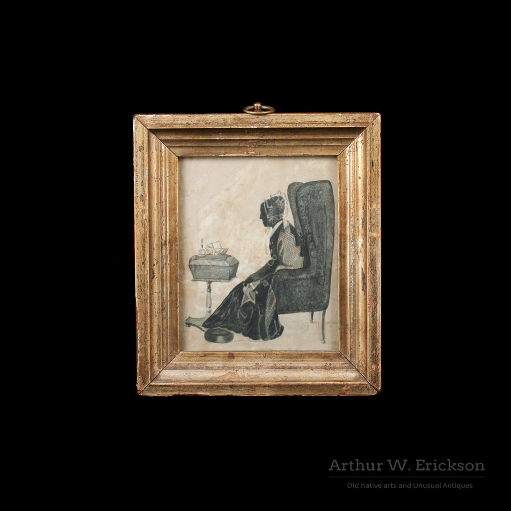 American Painted Silhouette of a woman in a Wingback Chair - Arthur W. Erickson - 1