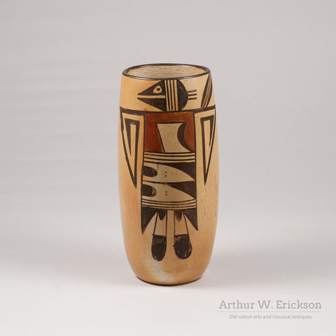 Hopi Tall Vase with Bird Figure - Arthur W. Erickson - 1