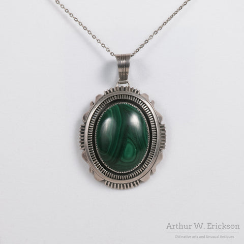 Navajo Large Malachite Pendant signed Begay