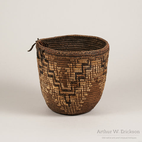 Late 19th C.  Nisqually or Puyallup Partially Imbricated  Basket