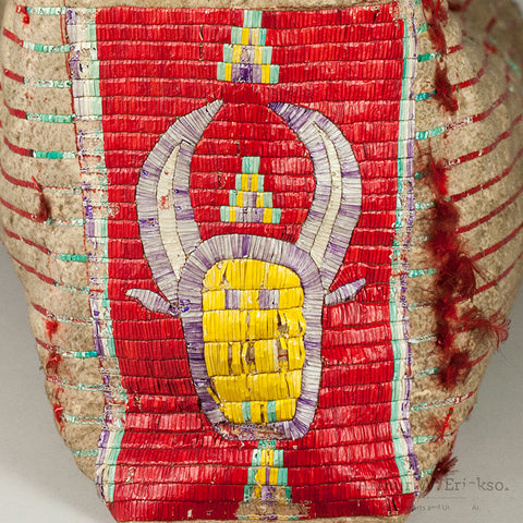 Pictorial Sioux Quilled Baby Cradle