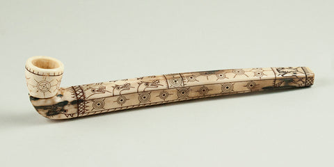 Heavily Scrimshawed Early Eskimo Ivory Pipe.