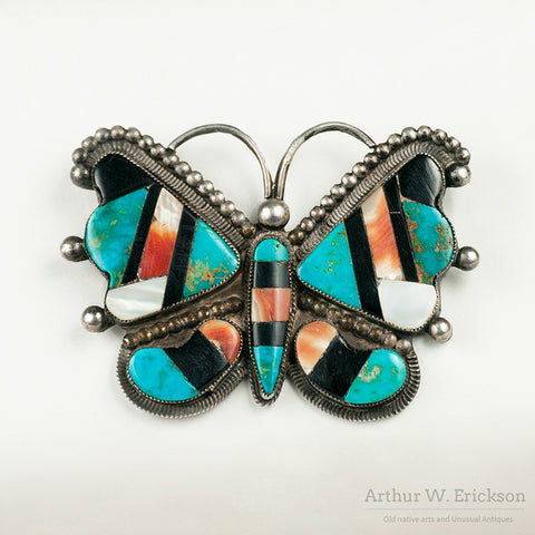 1950s Zuni Inlay Butterfly Pin