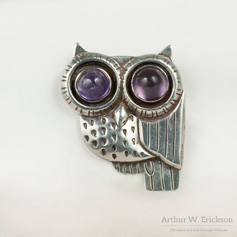 William Spratling Owl Pin with Amethyst Eyes