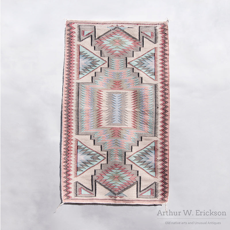 1970's  Raised Outline Navajo Rug