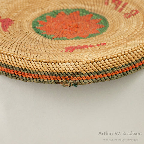 "Makah Lidded Basket with woven ""1918"" and ""Ellen"""