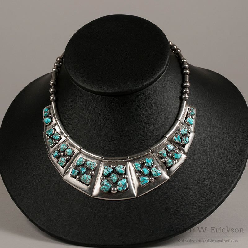 Frank Patania Sr. Sterling Silver and Nugget Turquoise Necklace