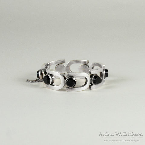 Antonio Pineda 970 Silver and Onyx Modernist Bracelet