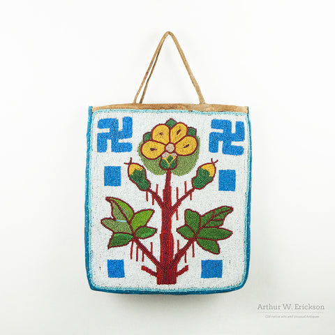 Plateau Beaded Bag with Flower and Whirling Log Design