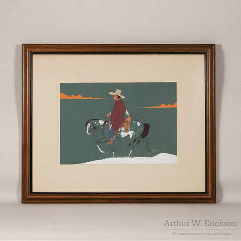 Beatien Yazz (Jimmy Toddy) Painting of Navajo Man on Horseback in Snow