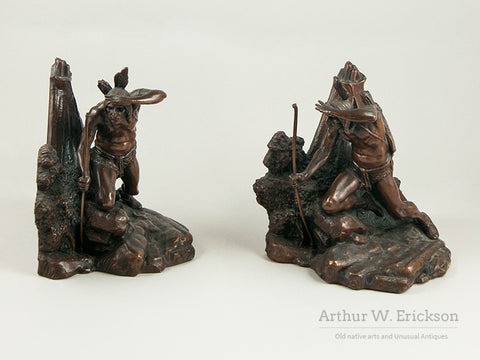 Bronze Native American Warrior Book Ends