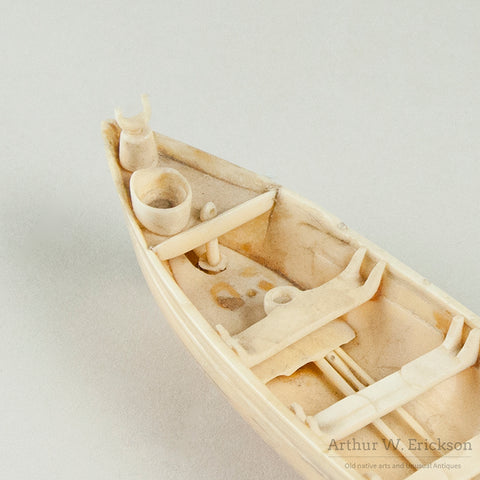 Carved Ivory Model of 19th C Whale Boat