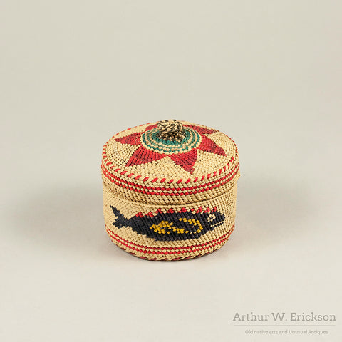 Colorful Nootka Lidded Basket