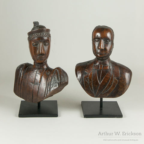 Folk Art Scandinavian Couple Wood Carving