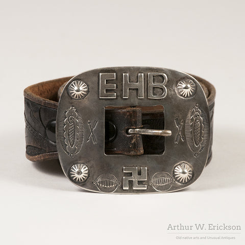 1930's Heavy Silver Navajo Buckle and tooled belt
