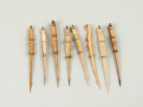 Eight Eskimo Carved Bear Head Cocktail Picks