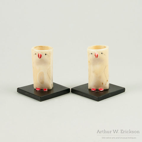 Eskimo Carved Bird Candle Holders