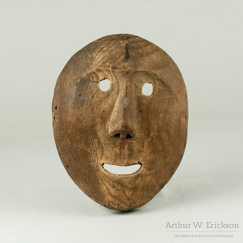 Old Eskimo Carved Wood Dance Mask
