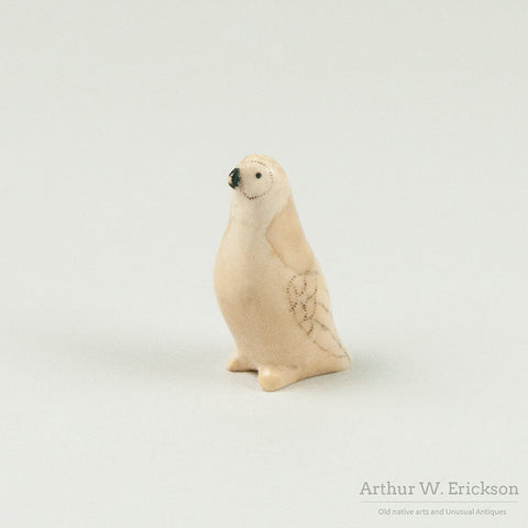 Eskimo Carved Ivory Standing Bird