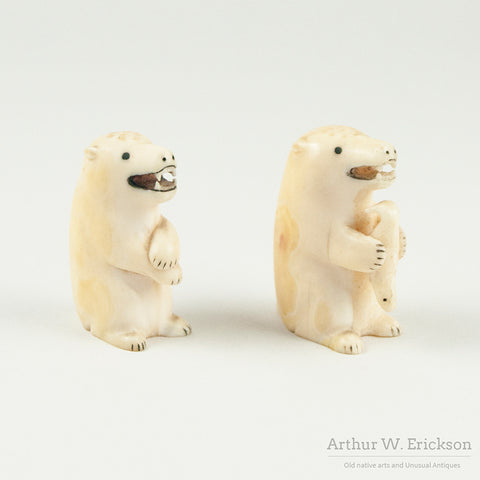 Eskimo Carved Polar Bear Salt and Pepper Shakers
