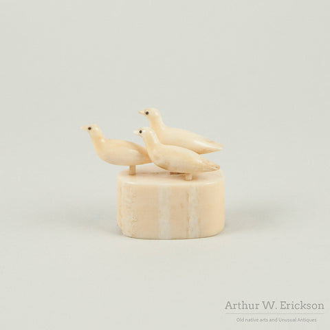 Three Eskimo Carved Ivory Birds On Base