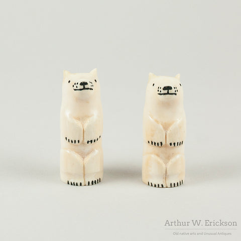 Eskimo Carved Walrus Ivory Polar Bear Salt and Pepper Shakers