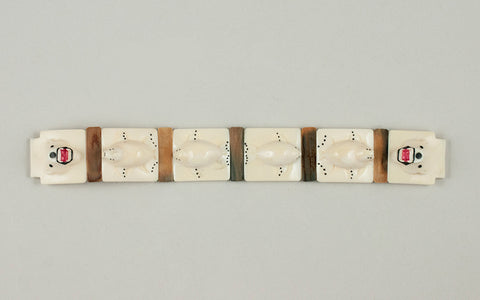 Eskimo Ivory Polar Bear and Seal Carved Watch Band by W. Okpowruk