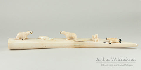 Eskimo Carved Ivory Hunting Tableau