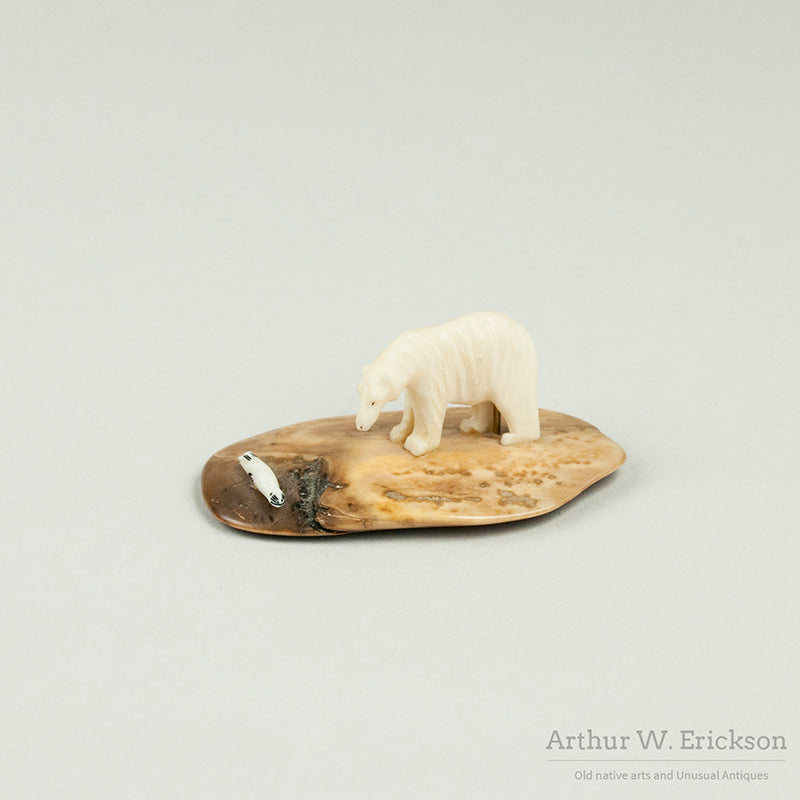 Eskimo Carved Polar Bear and Seal on Fossilized Ivory Base